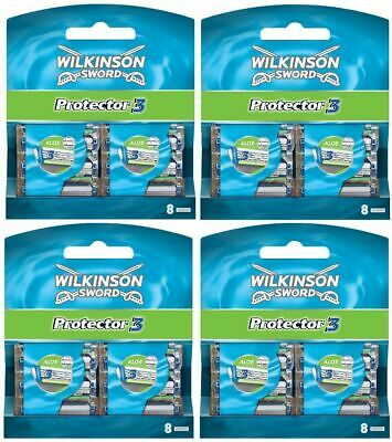 New Genuine Wilkinson Sword Mens Protector 3 Razor Blades - 32 Pack Refill