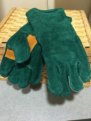 Green & Gold Leather Gauntlet Gloves -WELDING /Gardening NEW FREE POST