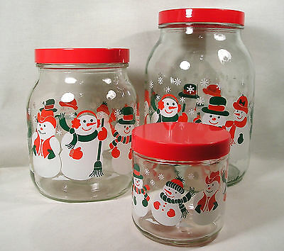 3 Winter Snowman Glass Storage Jars,Candy Cookie Kitchen Christmas Canisters