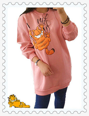 Garfield Cat NEW Cartoon Sweater Women Pink