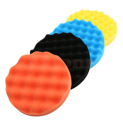 4Pcs 3/4/5/6/7 inch Buffing Polishing Sponge Pads Kit For Car Polisher Buffer