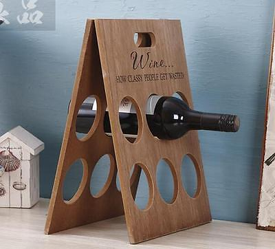 Plain Wood Foldable Wine Rack Wine Bottle Rack Holder Shelf Home Decor