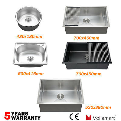 Commercial Laundry Stainless Steel Kitchen Sink Water Bowl Undermount Topmount