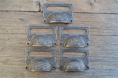 A Set Of 5 Large Edwardian Cast Iron Label Frame Handle Filing Drawer Pull Cb10
