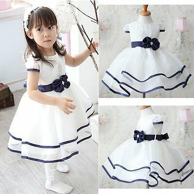 Flower Girls Princess Bow Dress Toddler Baby Wedding Party Pageant Tulle Dress