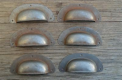 Set Of 6 Antique Pressed Aged Steel Drawer Handle Filing Industrial Pull Cb11