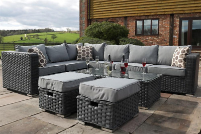 Yakoe 8 Seater Rattan Corner Sofa Set Conservatory Patio Garden Furniture Grey