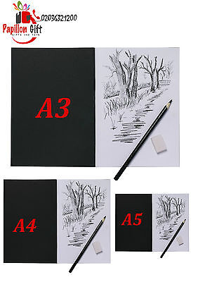 Tiger A4|A3|A5 Artist Sketch Book White Cartridge Paper Black Card Cover Art Pad