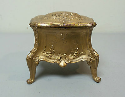 "Antique French Gilt Metal ""depose"" Jewelry / Dresser Box"