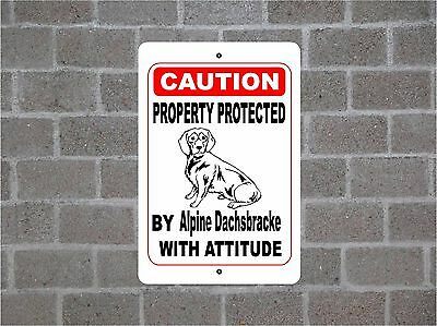 Property protected by Alpine Dachsbrack dog with attitude metal aluminum sign #B
