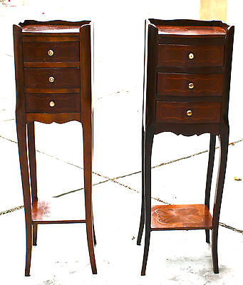 Magnificent Two Pieces English Night Stands With Three Drawers Signed