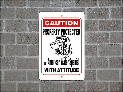 Property protected by American Water Spaniel dog with attitude metal sign #B