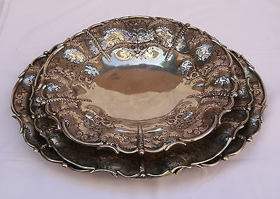Magnificent 3P 800 German Silver Large Platters /trays Center Pieces