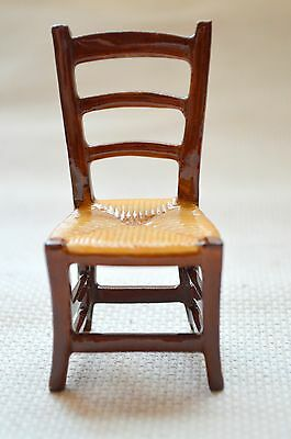 "Ladder Back Rush Seat Chair Porcelain MINI Miniature Hand Painted France 3"" H"