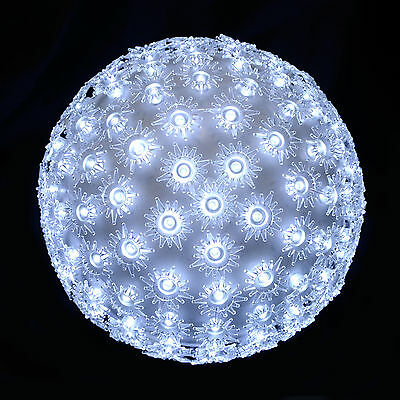 18cm Bright White LED Light Up Flashing Petal Ball Christmas Outdoor Decoration