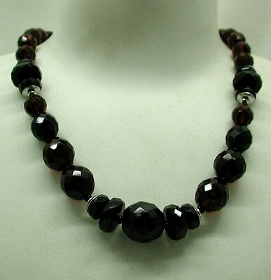Lovely Amber Coloured Cut Crystal Bead Necklace