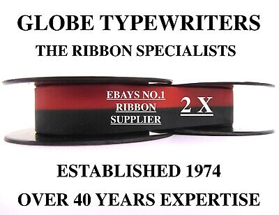 2 x 'SILVER REED SR180' *BLACK/RED* TOP QUALITY *10M* TYPEWRITER RIBBONS+EYELETS
