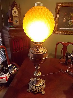 Antique Bradley Hubbard Oil Lamp with Rare Rust Brown/Orange Shade! Beautiful!