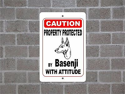 Property protected by Basenji dog breed with attitude metal sign #B