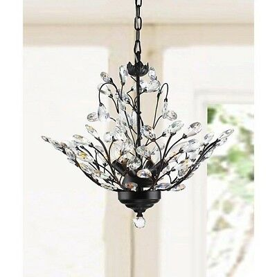 4 Light Chandelier Antique Crystal Lamp Copper Flowers Hanging Glass Pendant New