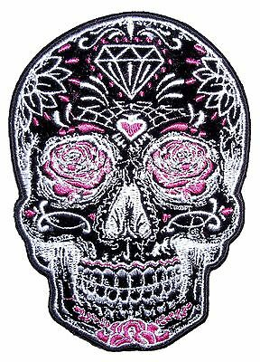 Day Of The Dead Sugar Skull Ladies Embroidered Biker Patch Large FREE SHIP