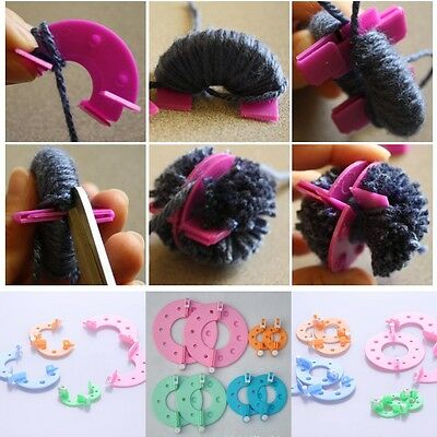 8pc DIY Fluff Ball Weaver Needle Craft Knitting Loom Essential Pompom Maker Tool