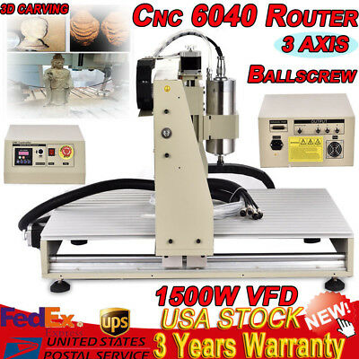1.5KW CNC ROUTER 6040 ENGRAVER Engraving Drilling Carving Cutter Machine 3 AXIS