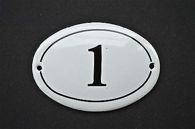Antique Style Small Oval Number 1 Door Number Plaque Sign Enamel On Metal