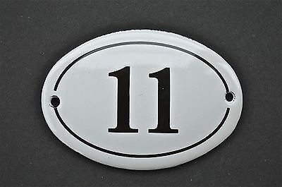 Antique Style Small Oval Number 11 Door Number Plaque Sign Enamel On Metal