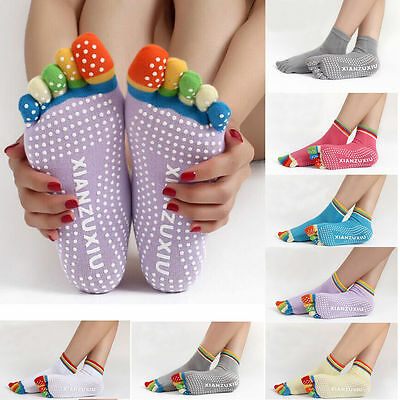 Women Yoga Gym Socks Sport Fitness Pilates Socks Five Toe No-Slip Massage Warm