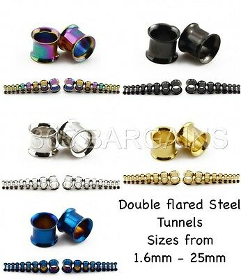 DOUBLE FLARED 316 Steel Metal Ear Flesh Tunnel Stretcher Plug Titanium Anodized