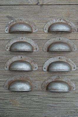 Set Of 8 Antique Pressed Aged Steel Drawer Handle Filing Industrial Pull Cb21