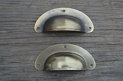 A  Pair Of Antique Pressed Aged Brass Drawer Handle Filing Industrial Pull Cb22