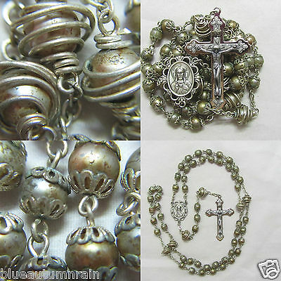 † Super Htf Vintage Unique Wired Wrapped Double Capped Pearl Style Bead Rosary †