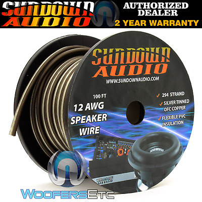 Sundown Audio 12 Awg Black White 100Ft Ofc Silver Tinned Copper Subwoofer Wire
