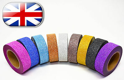 10M X 15mm Glitter Washi tape paper self adhesive  ~ 19 Different Colours