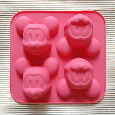 4-Cave Mickey Mouse Cake Mold Cookie Mould Flexible Silicone Soap Mold Chocolate