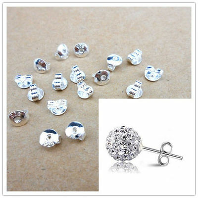 20pcs Quality.925 Sterling Silver BACK STOPPER for Earring Jewelry Findings LOTS