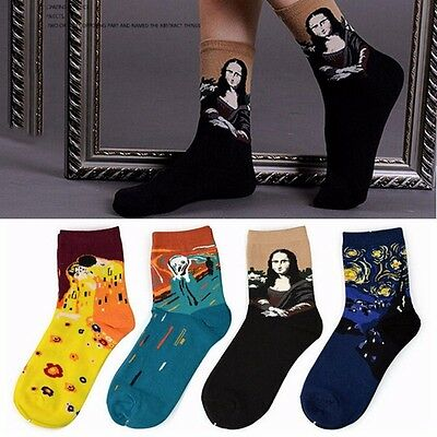 3D Retro Painting Art Sock Unisex Women Funny Novelty Starry Night Vintage Socks