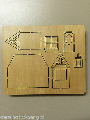 WOODEN DIE CUTTER-COTTAGE, Use in Sizzix Big Shot, VERY RARE!!!
