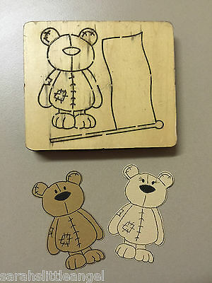 WOODEN DIE CUTTER-FLAG BEAR, Use in Sizzix Big Shot, VERY RARE!!!