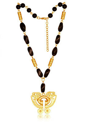ACROSS THE PUDDLE Twisted Onyx and 24k Gold Plated Butterfly Necklace