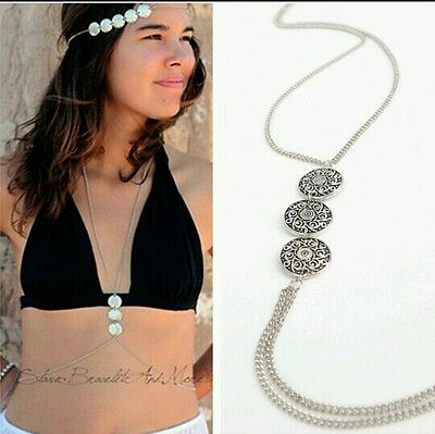 New Woman's BODYCHAIN ANTIQUE SILVER STYLE coin UK Seller