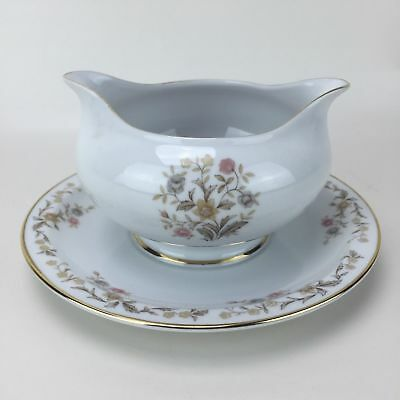 Yamato China Japan Helena Gravy Boat with Attached Under Plate