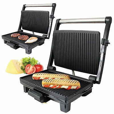 1200w S/Steel 4 Slice Panini Maker Sandwich Press Health Grill Griddle Drip Tray