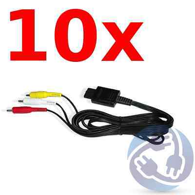 LOT - 10X AV Audio Video A/V Stereo RCA Cables for Nintendo Gamecube SNES N64 GC