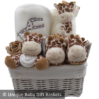 Baby gift basket/hamper 4 piece set & keepsake neutral baby shower nappy cake