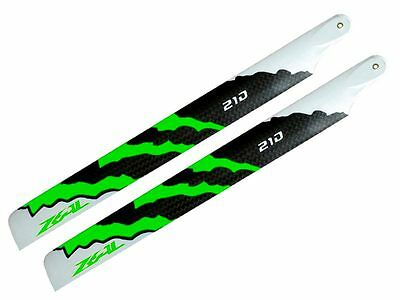 ZEAL ENERGY Carbon Fiber Main Blades 210mm (Green) 250 Class Helis
