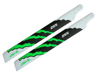 ZEAL ENERGY Carbon Fiber Main Blades 255mm (Green) 250 Class Helis