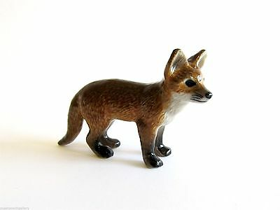 Miniature Porcelain Fox figurine -  Hand Painted